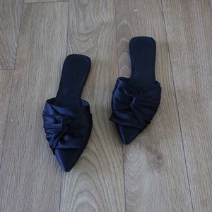 F21 Knotted Bow Satin Flats